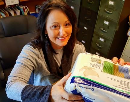 Rhonda packing a box